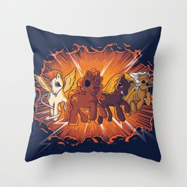 Four Little Ponies of the Apocalypse Throw Pillow