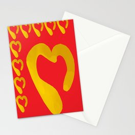 Gold Hearts on Red Stationery Cards