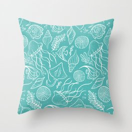 Sea Life - Aqua Throw Pillow