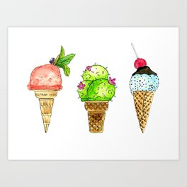 colourful ice cream cones Art Print