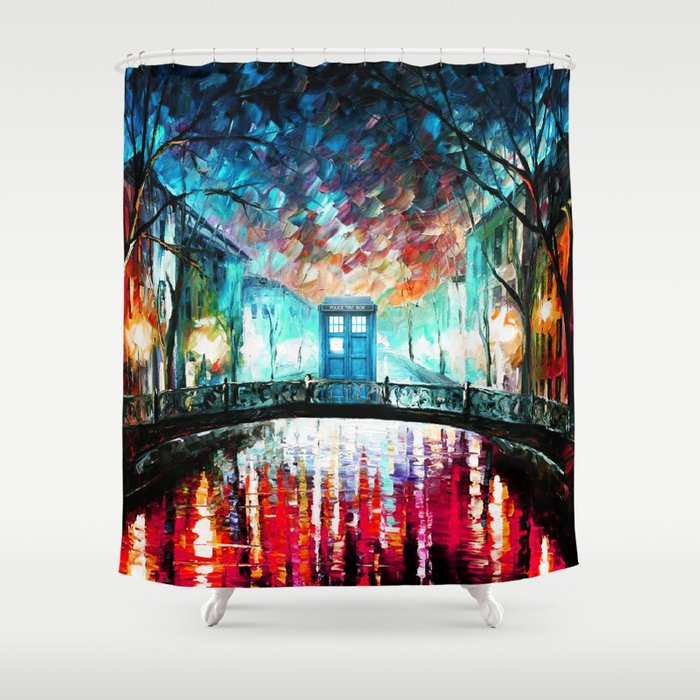 Tardis With Beautiful Starry Night Shower Curtain