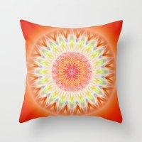 health Throw Pillows featuring Mandala Health by Christine baessler