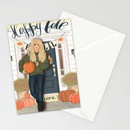 Happy Fall Scene Stationery Cards