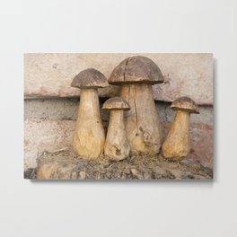 mushroom inlaid in the trunk of the tree Metal Print