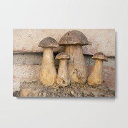 mushroom inlaid in the trunk of the tree Metal Print