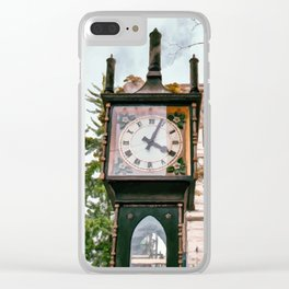Realistic Painting of the Gastown Steam Clock in Vancouver, BC Clear iPhone Case