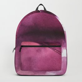 Blushing [4]: a minimal abstract watercolor and ink piece in shades of purple and red Backpack