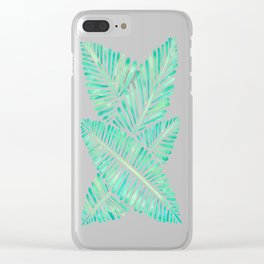 Tropical Banana Leaves – Mint Palette Clear iPhone Case