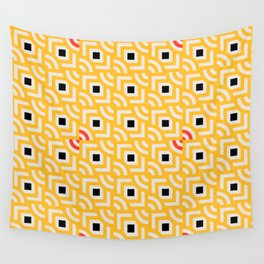 Round Pegs Square Pegs Yellow Wall Tapestry