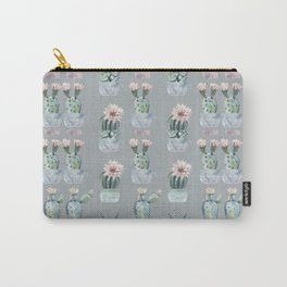 Potted Cactus Plants Gray Carry-All Pouch