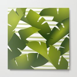 Banana Palm Leaves and Stripes Tropical Green Metal Print