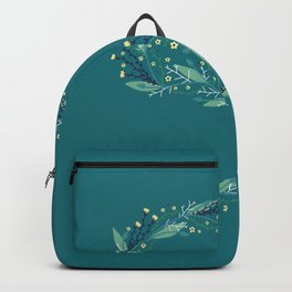 Turquoise flowers alphabet S Backpack