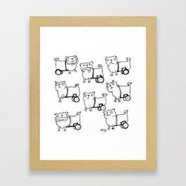 Wheelchair Dog Emotions Framed Art Print