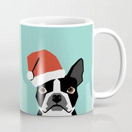Xmas Boston Terrier Santa Hat funny dog gift for dog lover terrier owner boston terrier cute puppy  Coffee Mug
