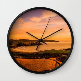 jacks bay new zealand beautiful colors at sunset farmland bay orange Wall Clock