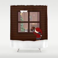 cabin Shower Curtains featuring Holiday Cabin by Cecily Cloud