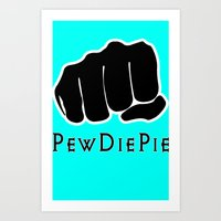 pewdiepie Art Prints featuring Pewdiepie by rita rose