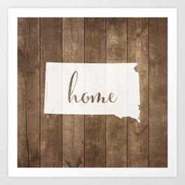 South Dakota is Home - White on Wood Art Print