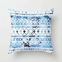 Watercolor creative black blush blue geometrical aztec Throw Pillow
