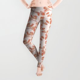 Branch with Flower Nuts Pattern Leggings