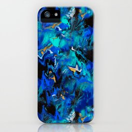 Ripples (Blue, White, Black & Gold Acrylic - Repeat Pattern) iPhone Case