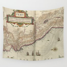 Vintage Map of Peru (1638) Wall Tapestry