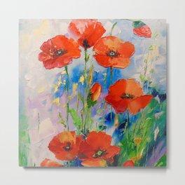 Poppies in a field Metal Print