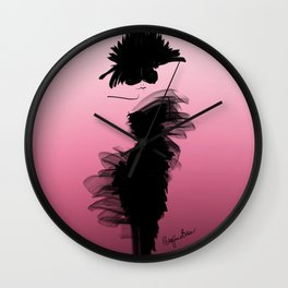 Fashion model in little black dress and pink Wall Clock