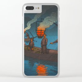 Beautiful Vintage Japanese Woodblock Print Japanese Fisherman Flame Torch Clear iPhone Case
