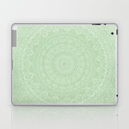 The Most Detailed Intricate Mandala (Green Olive Lime) Maze Zentangle Hand Drawn Popular Trending Laptop & iPad Skin