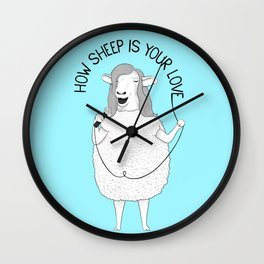 Sheep singing Bee Gees | Animal Karaoke | Illustration | Blue Wall Clock