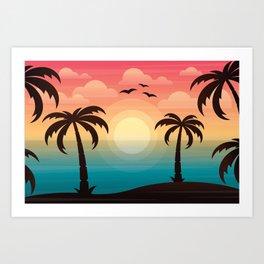 Rainbow Sunset Beach Art Print