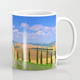 Cypress trees and meadow with typical tuscan house Coffee Mug