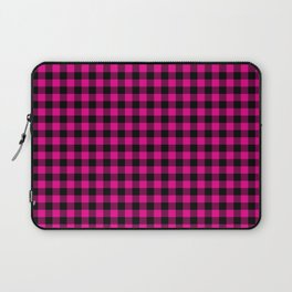 Classic Hot Pink Country Cottage Summer Buffalo Plaid Laptop Sleeve
