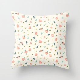 Pencil floral – cream Throw Pillow
