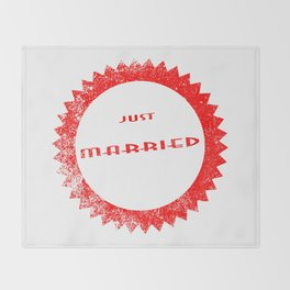 Just Married Ink Stamp Throw Blanket