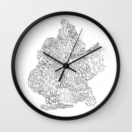 Brooklyn - Hand Lettered Map Wall Clock