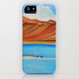 Pangong lake in pastel colours, Landscape painting. iPhone Case