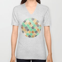 Charcoal, Mint, Wood & Gold Moroccan Pattern Unisex V-Neck