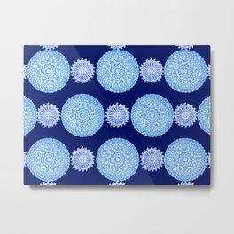 Royal Blue and Silver-White Patterned Mandalas Metal Print