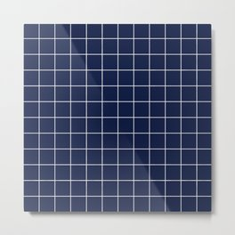 Indigo Navy Blue Grid Metal Print