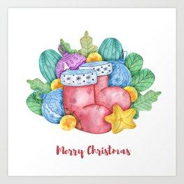 Watercolor Christmas set of Christmas balls, yellow stars and green foliage Art Print