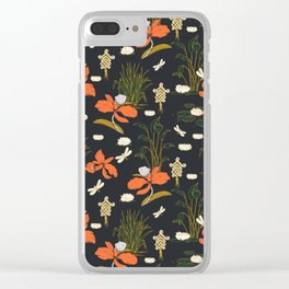 Floral asian illustration pattern Clear iPhone Case
