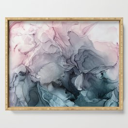 Blush and Paynes Gray Flowing Abstract Reflect Serving Tray