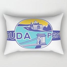 Budapest, Chain Bridge, sticker, blue, yellow Rectangular Pillow