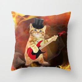 rocker cat in flames Throw Pillow