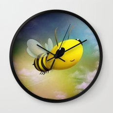 Bee Flying On Colour Sky Wall Clock