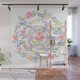 Bouquet of flowers - Marigold - BLUE Wall Mural