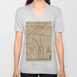 Vintage Map Print - Map of the Middle East: Turkey, Syria, Iraq, Israel etc. (1712) Unisex V-Neck