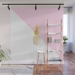 Pink white colorblock gold geometrical pineapple Wall Mural